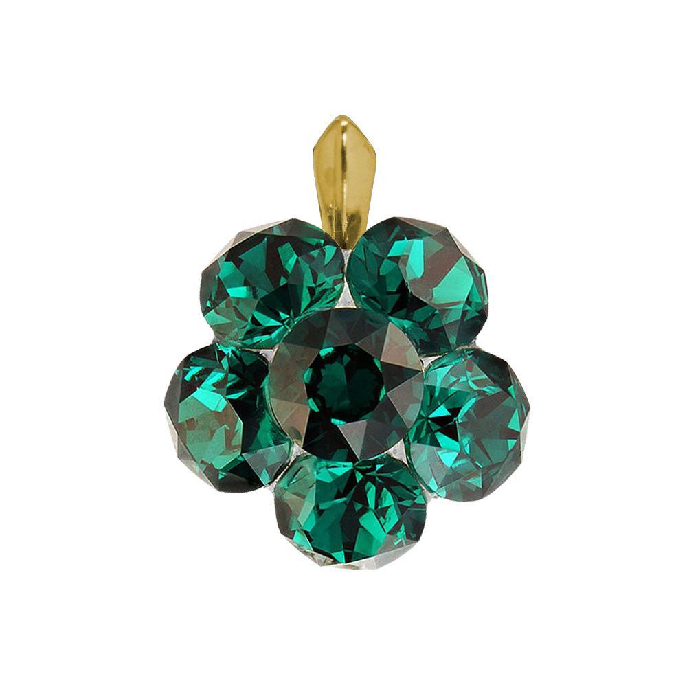 Clover - Pandantiv Argint Placat cu Aur  si Cristale Swarovski - Emerald