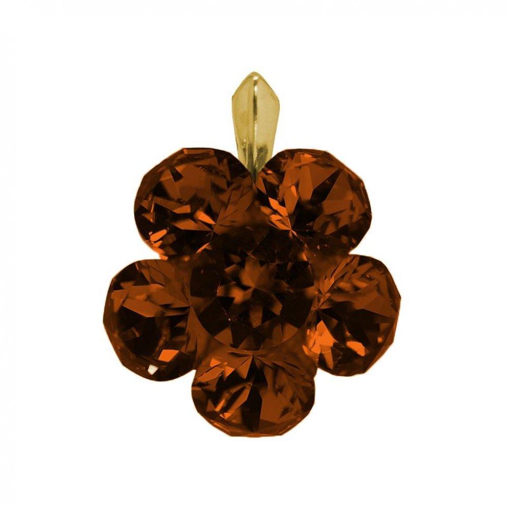 Adrianna - Pandantiv Argint Placat cu Aur si Cristale Swarovski-Smoked Topaz