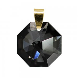 Octogonia - Pandantiv Argint  Placat cu Aur si Cristale Swarovski - Silver Night