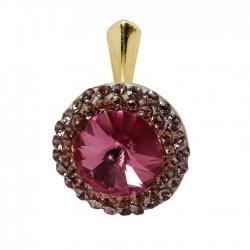 Aldora - Pandantiv Argint Placat cu Aur si Cristale Swarovski - Rose