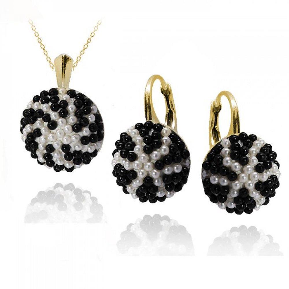 Set Bijuterii Argint Placat cu Aur si Perle Swarovski - Adinne
