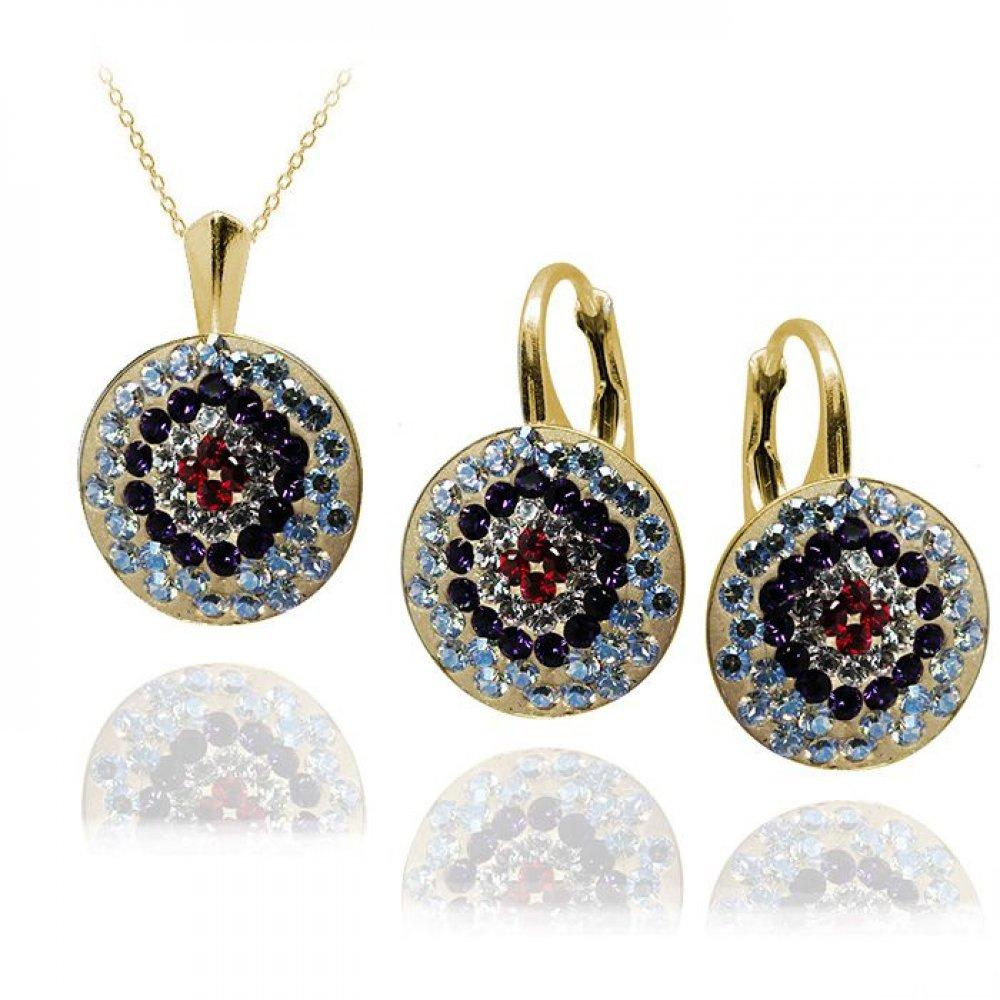 Set Bijuterii Argint Placat cu Aur si Cristale Swarovski - Calipso