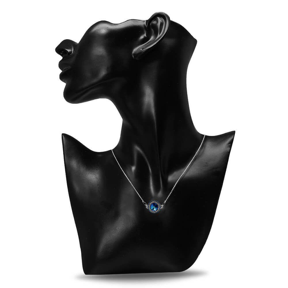 Aldora - Colier Argint si Cristale Swarovski - Bermuda Blue