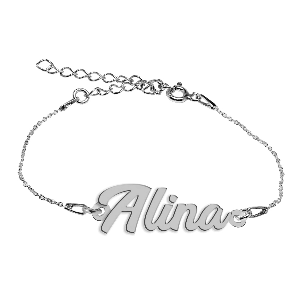 Bratara Argint 925, Nume Alina , BijuBOX, 15 + 4 cm
