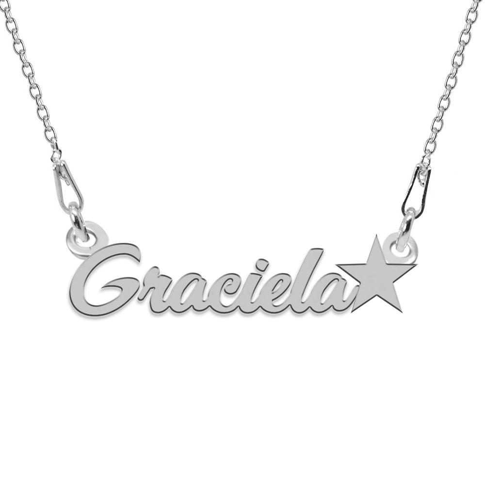 Colier Argint, Steluta, Nume Graciela , 45 cm