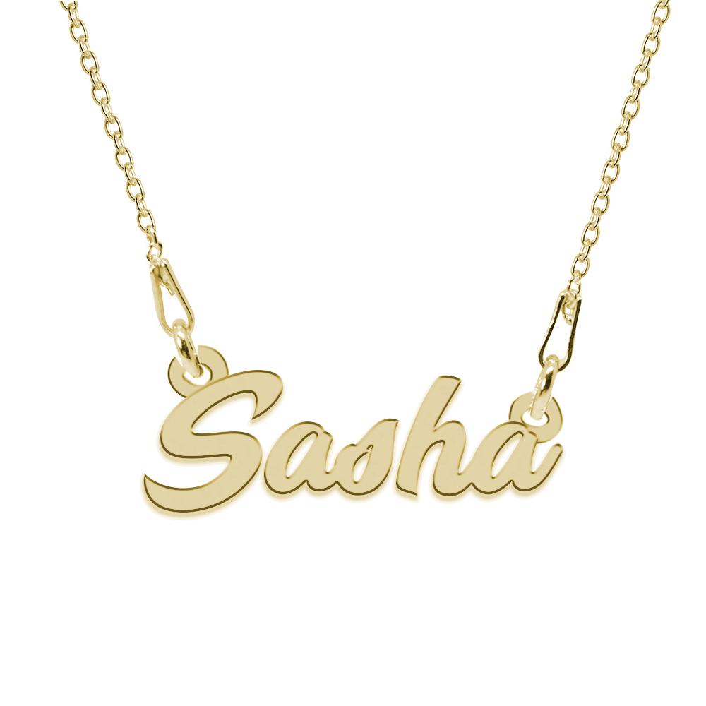 Colier Argint Placat cu Aur 24 karate, Nume Sasha, 45 cm