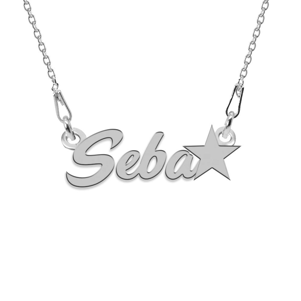 Colier Argint, Steluta, Nume Seba , 45 cm