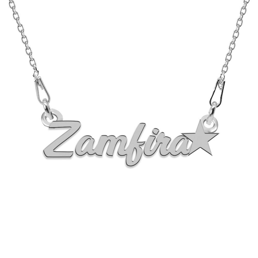Colier Argint, Steluta, Nume Zamfira , 45 cm