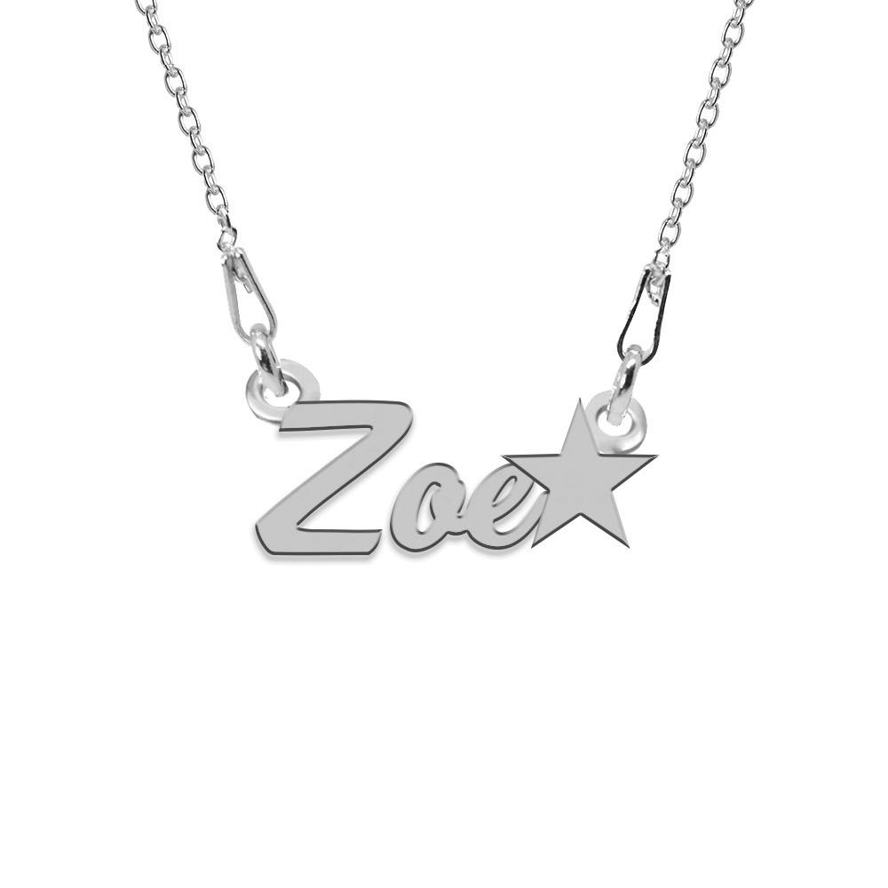 Colier Argint, Steluta, Nume Zoe , 45 cm