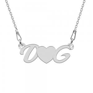 Love - Colier personalizat cu initiale si inimioara din argint 925
