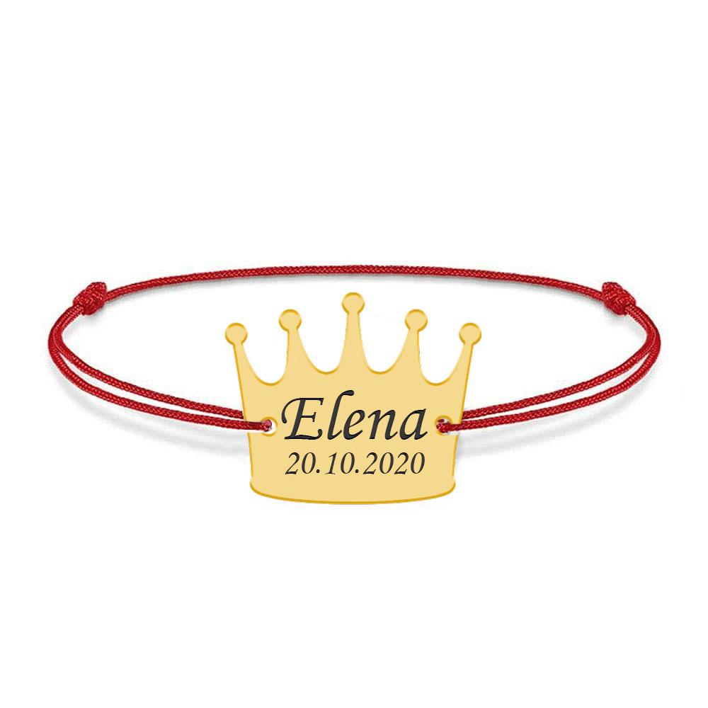 King - Bratara snur cu talisman din argint personalizata cu text - coroana poza 2021