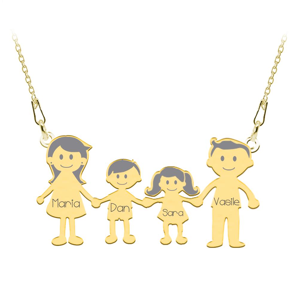 Family - Colier personalizat din argint cu 4 membri ai familiei poza 2021