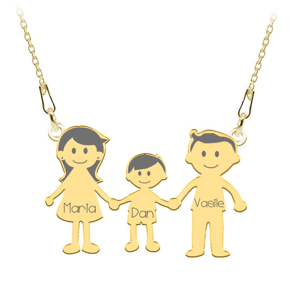 Family - Colier personalizat din argint cu 3 membri ai familiei
