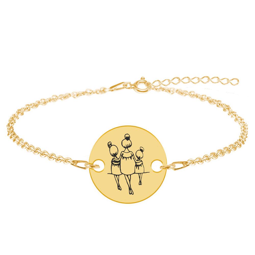 Felicia - Bratara personalizata din argint 925 mama cu doua fetite poza 2021