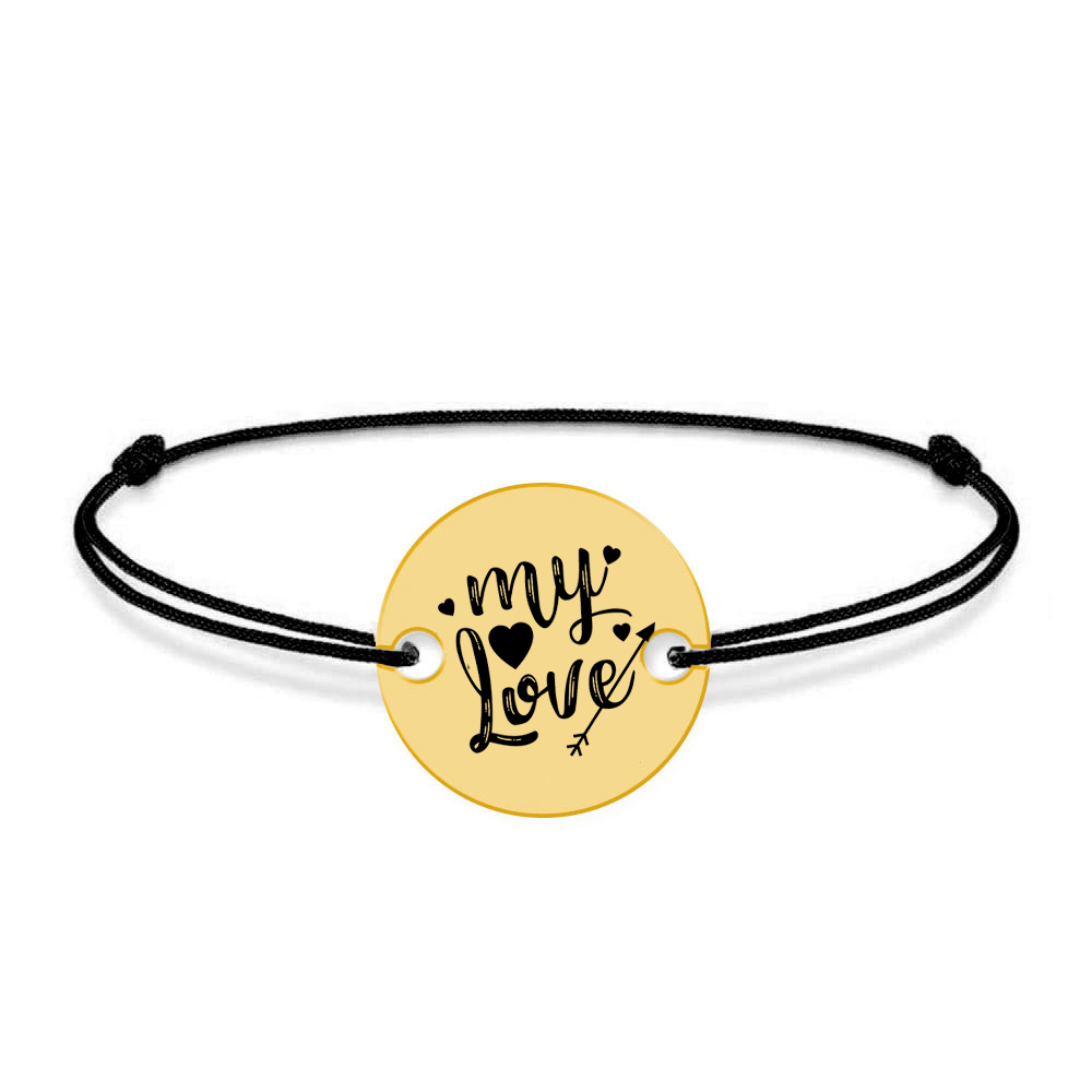 Lover - Bratara snur personalizata banut cu textul My Love poza 2021