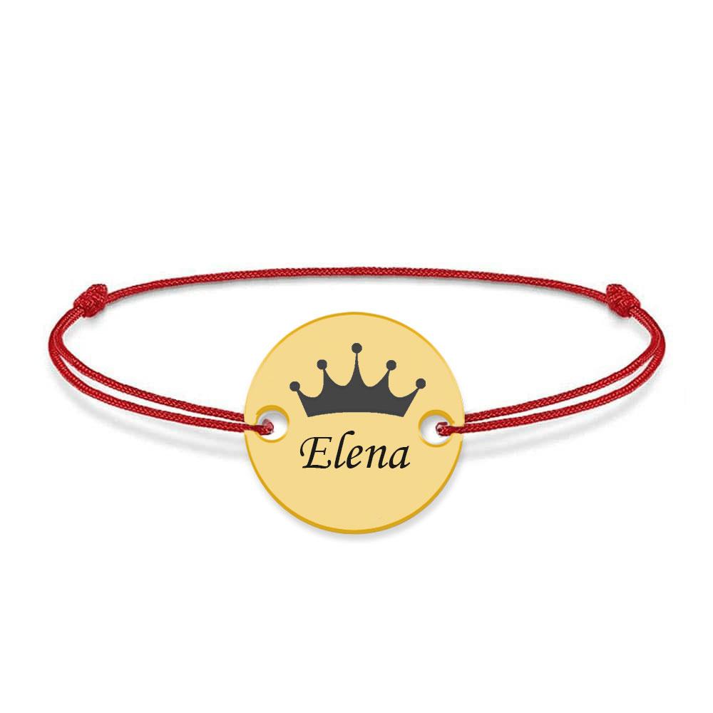 Regali - Bratara personalizata banut cu nume si coroana