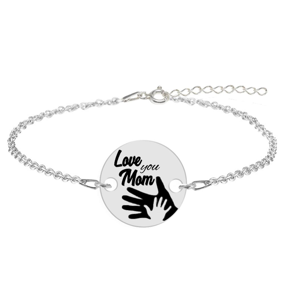"""Sole - Bratara personalizata din argint """"Love you Mom"""" poza 2021"""