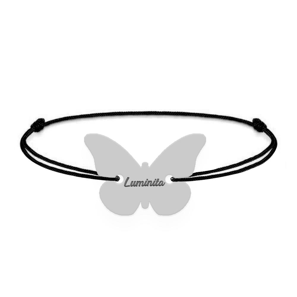 Zulema - Bratara din snur personalizata cu fluturas si nume poza 2021