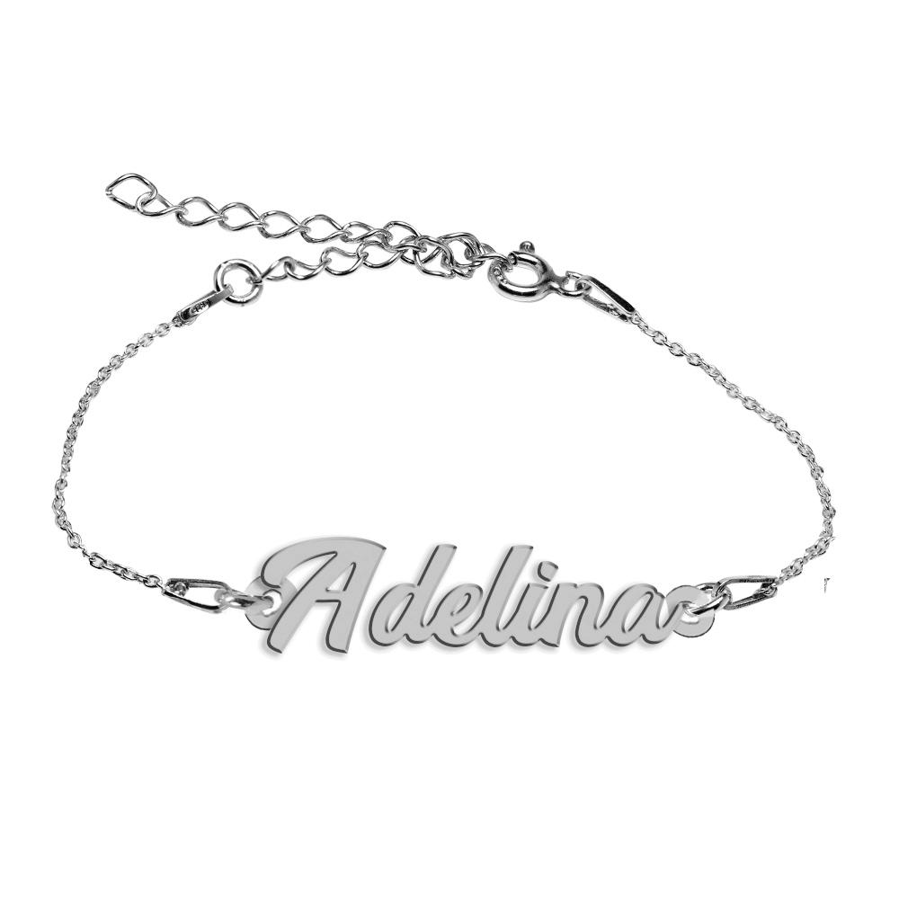 Bratara Argint 925, Nume Adelina , BijuBOX, 15 + 4 cm