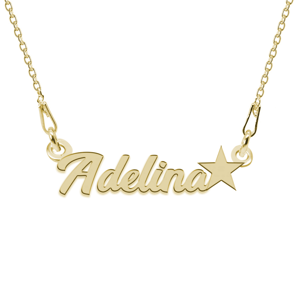 Colier Argint Placat cu Aur 24 karate, Steluta, Nume Adelina, BijouxMAG, 45 cm