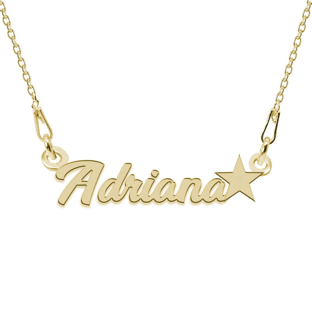 Colier Argint Placat cu Aur 24 karate, Steluta, Nume Adriana, BijouxMAG, 45 cm poza 2021