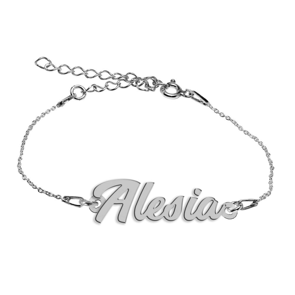 Bratara Argint 925, Nume Alesia , BijuBOX, 15 + 4 cm