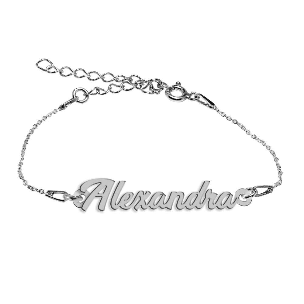 Bratara Argint 925, Nume Alexandra , BijuBOX, 15 + 4 cm