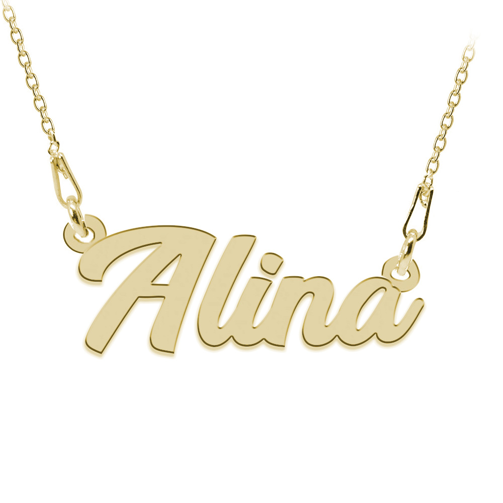 Colier Argint Placat cu Aur 24 karate, Nume Alina, 45 cm