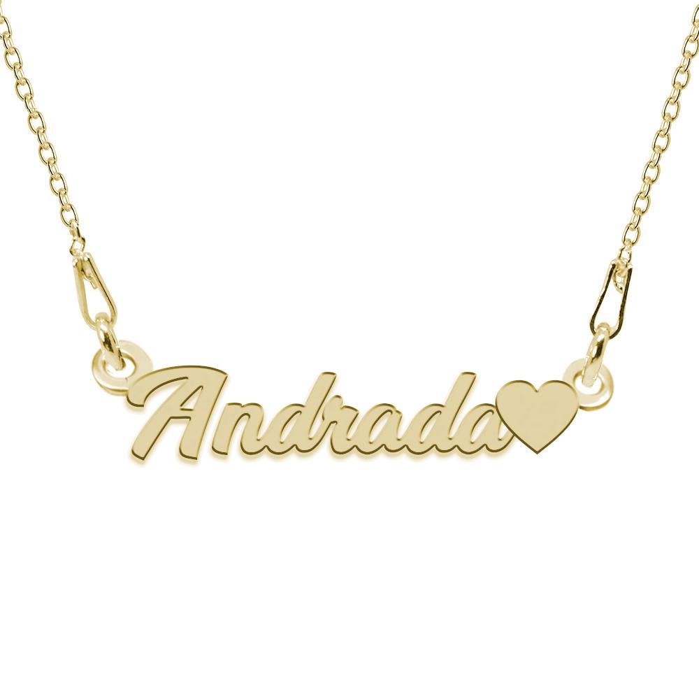 Colier Argint Placat cu Aur 24 karate, Inimioara, Nume Andrada, BijouxMAG, 45 cm