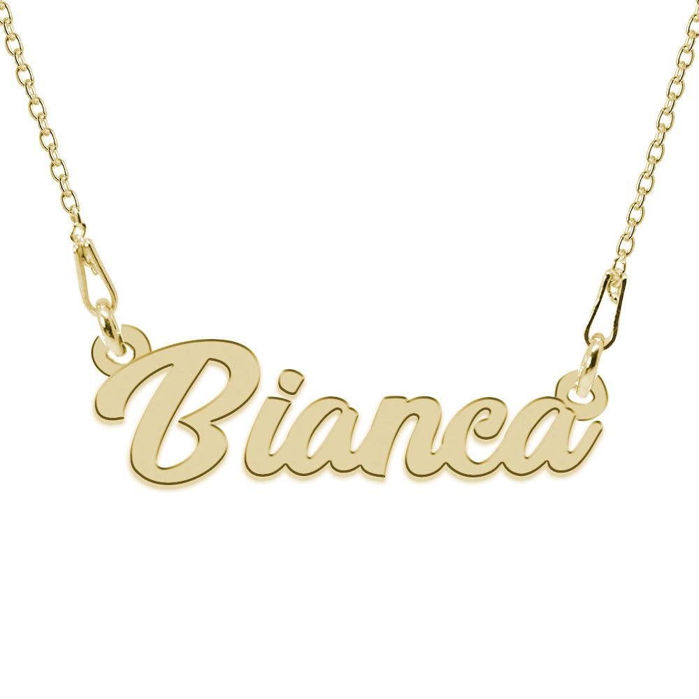 Colier Argint Placat cu Aur 24 karate, Nume Bianca, 45 cm