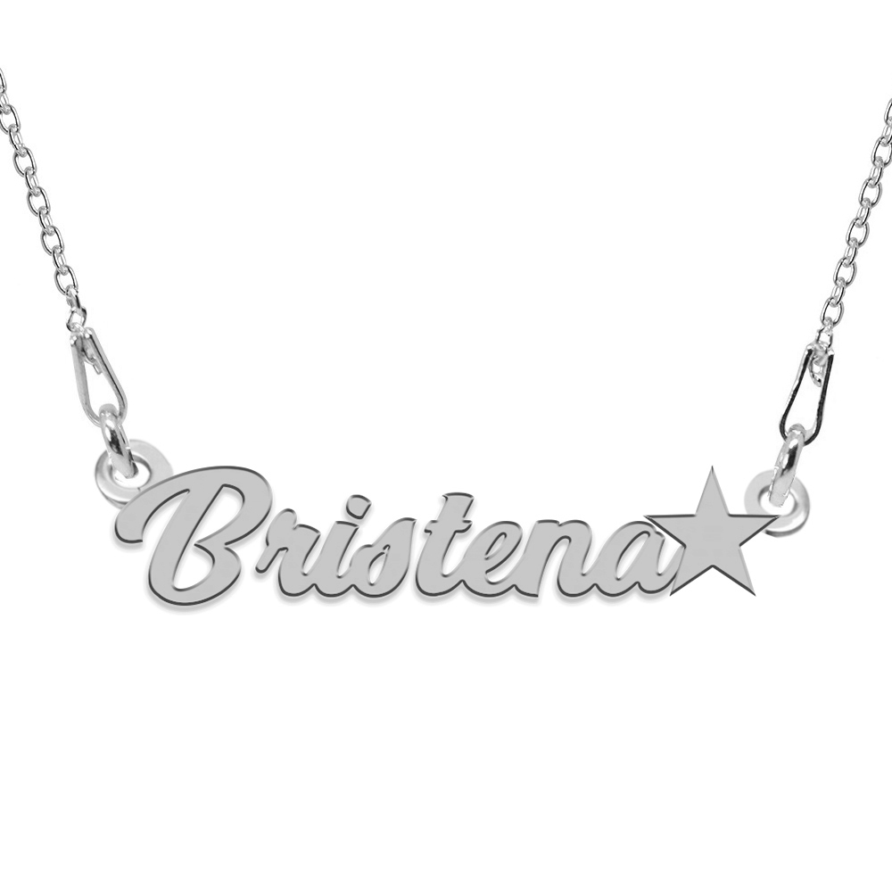 Colier Argint 925, Steluta, Nume Bristena, 45 cm