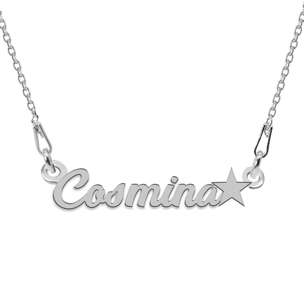 Colier Argint 925, Steluta, Nume Cosmina, 45 cm