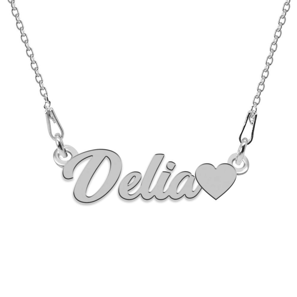 Colier Argint, Inimioara, Nume Delia , 45 cm