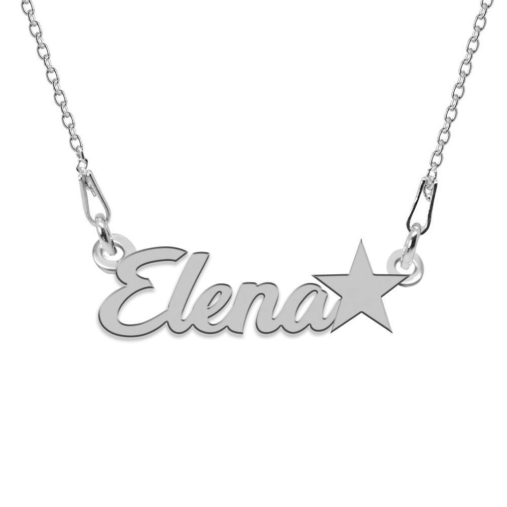 Colier Argint, Steluta, Nume Elena , 45 cm