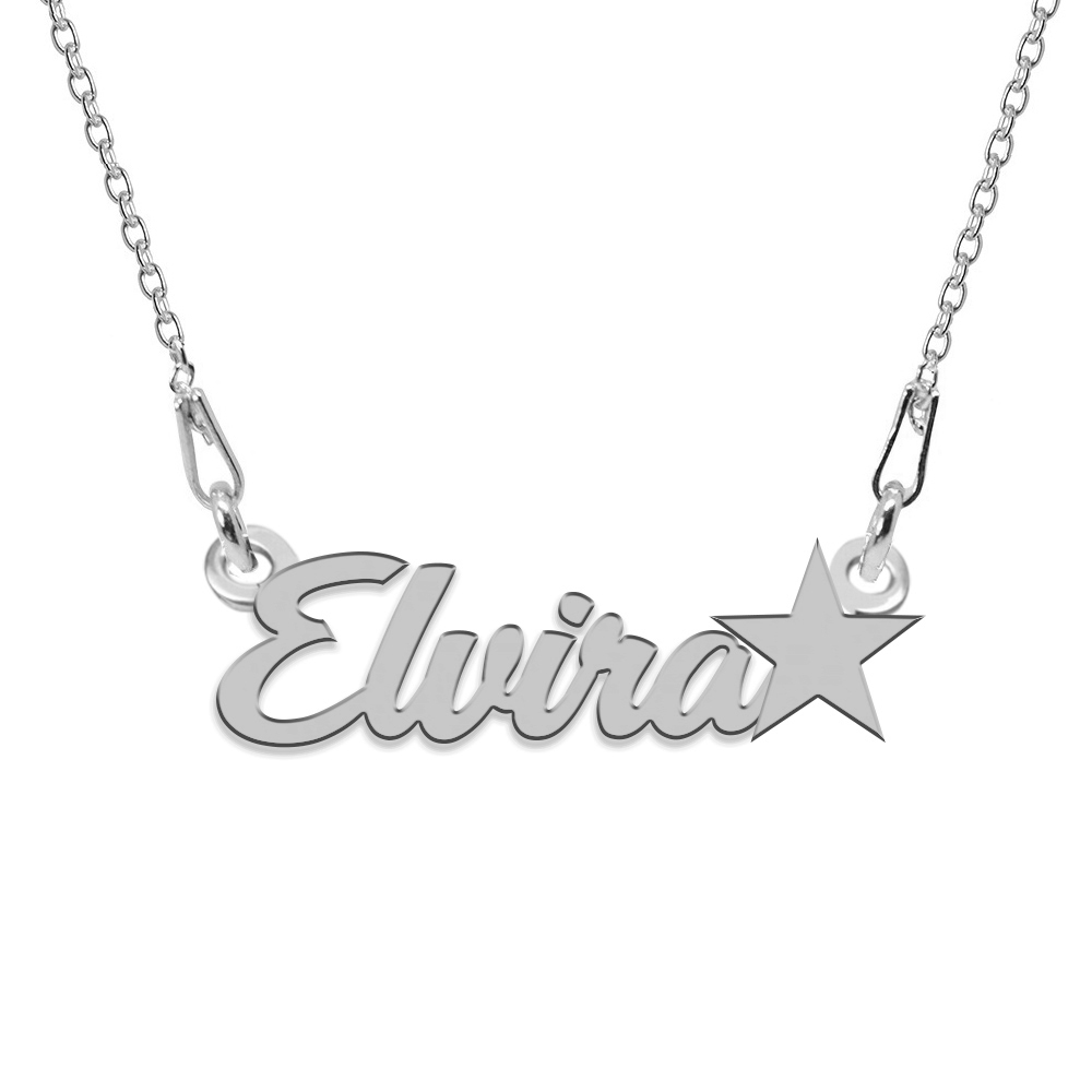 Colier Argint, Steluta, Nume Elvira , 45 cm