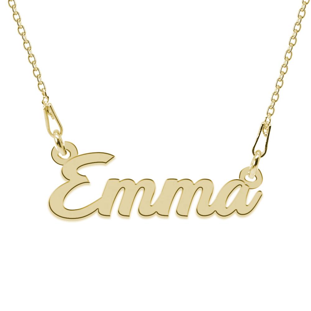 Colier Argint Placat cu Aur 24 karate, Nume Emma, 45 cm