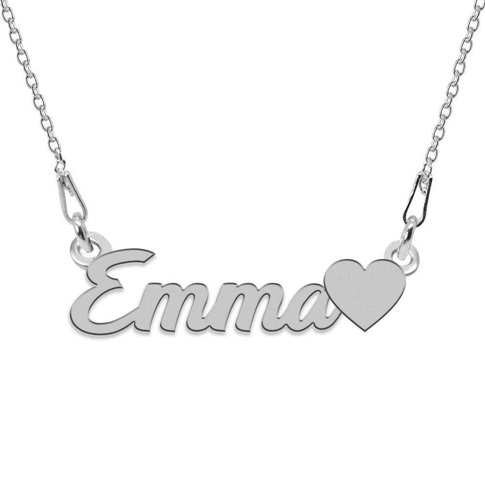 Colier Argint, Inimioara, Nume Emma , 45 cm