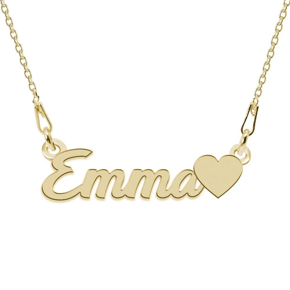 Colier Argint Placat cu Aur 24 karate, Inimioara, Nume Emma, 45 cm