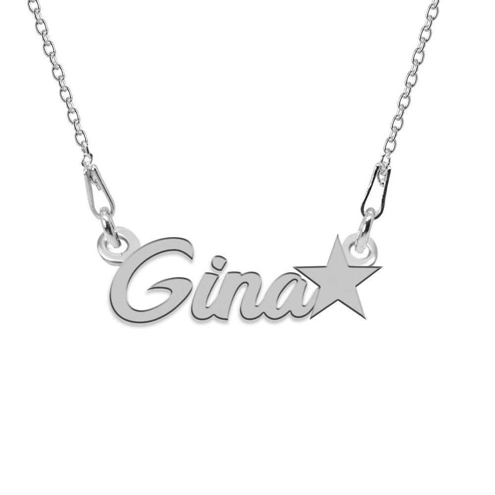 Colier Argint, Steluta, Nume Gina , 45 cm