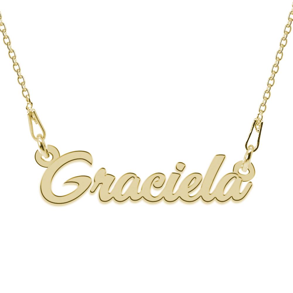 Colier Argint Placat cu Aur 24 karate, Nume Graciela, 45 cm