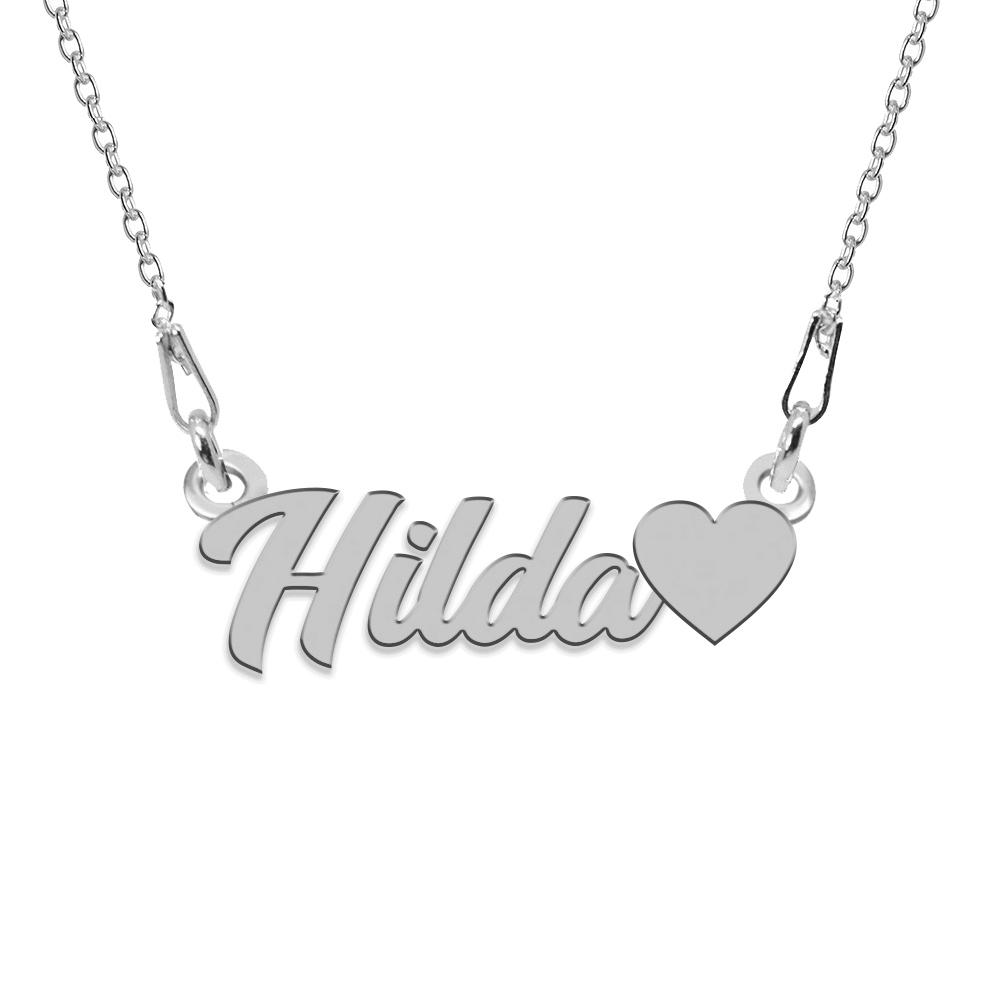 Colier Argint, Inimioara, Nume Hilda , 45 cm