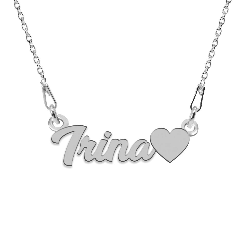 Colier Argint, Inimioara, Nume Irina , 45 cm