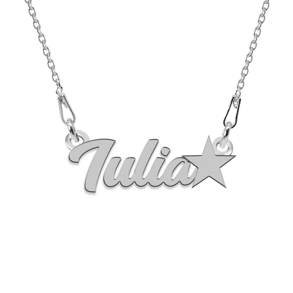 Colier Argint, Steluta, Nume Iulia , 45 cm
