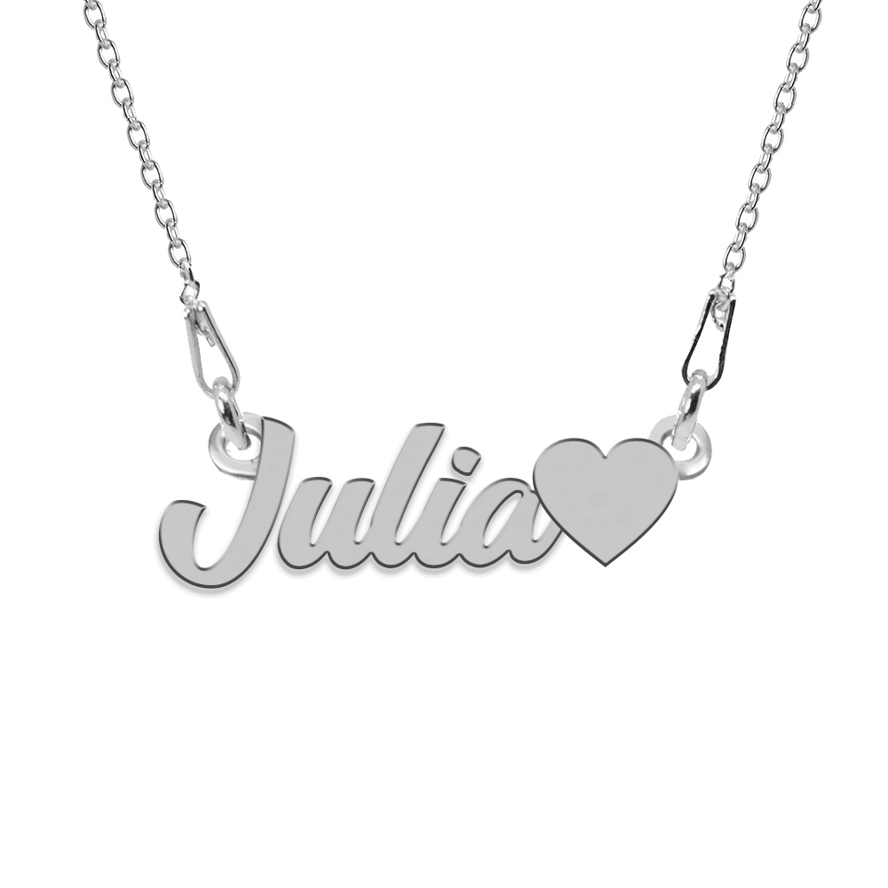 Colier Argint, Inimioara, Nume Julia , 45 cm poza 2021