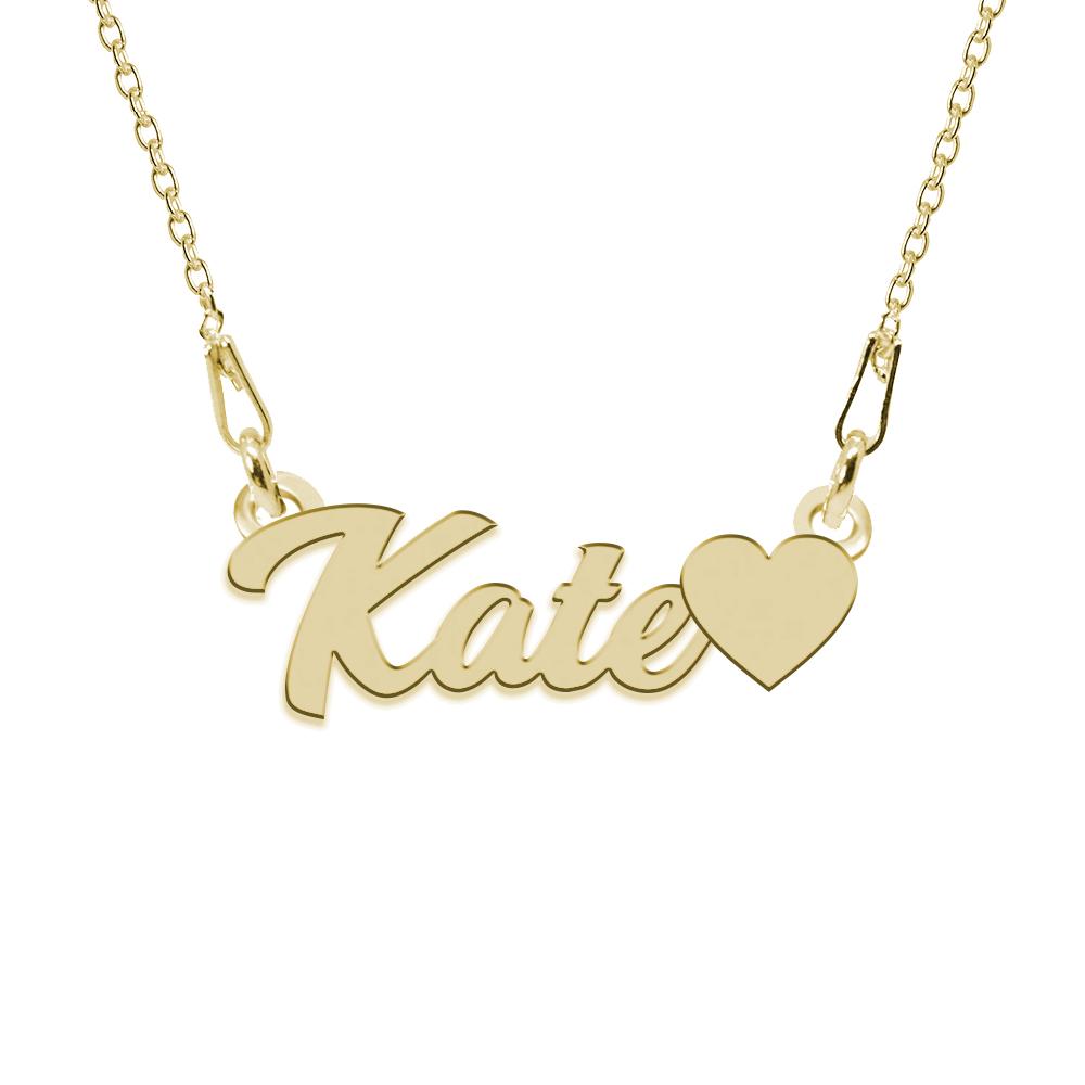 Colier Argint Placat cu Aur 24 karate, Inimioara, Nume Kate, 45 cm