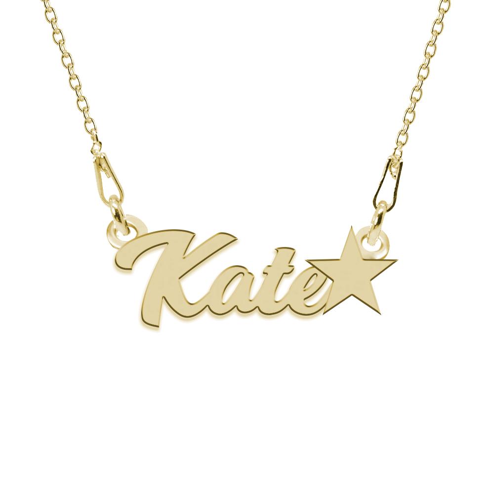 Colier Argint Placat cu Aur 24 karate, Steluta, Nume Kate, 45 cm