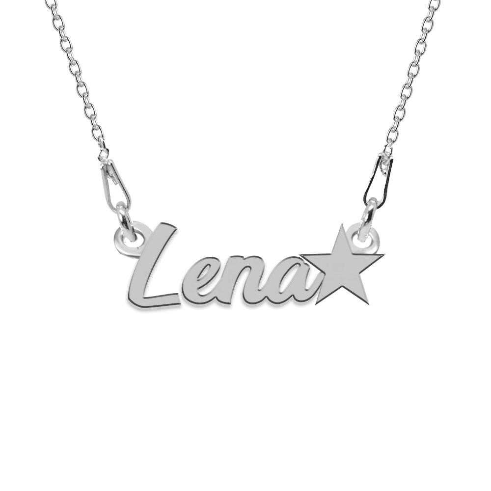 Colier Argint, Steluta, Nume Lena , 45 cm