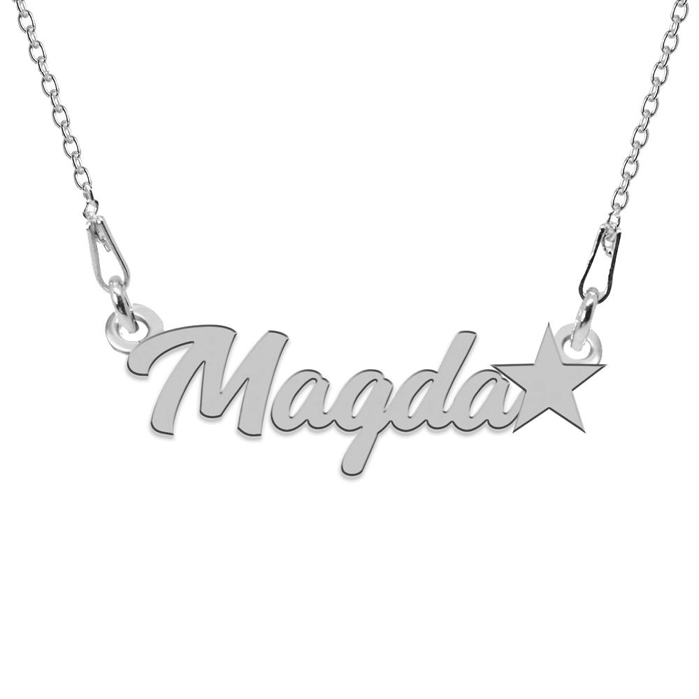 Colier Argint, Steluta, Nume Magda , 45 cm