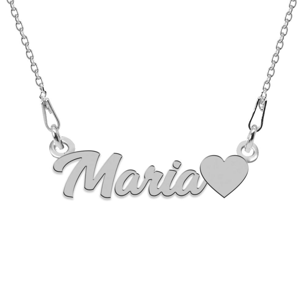 Colier Argint, Inimioara, Nume Maria , 45 cm