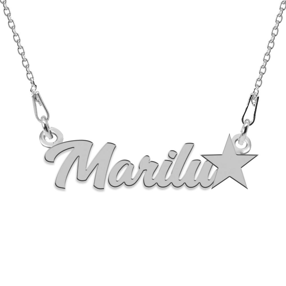 Colier Argint, Steluta, Nume Marilu , 45 cm